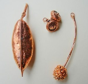 electroformed seed, leaf and acorn