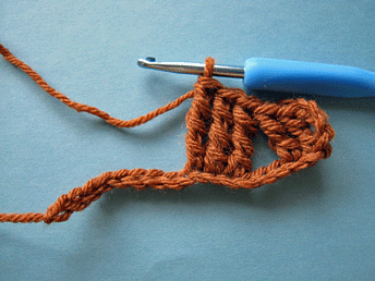 Edgeless Crochet Cables: Setting up the first cross of the first row (WS).