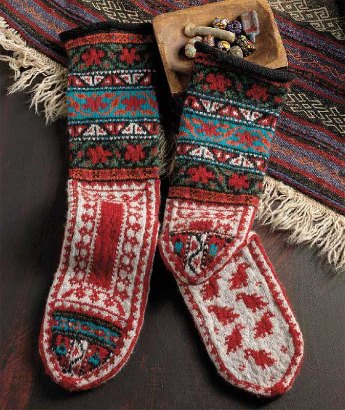 knitted mittens and socks