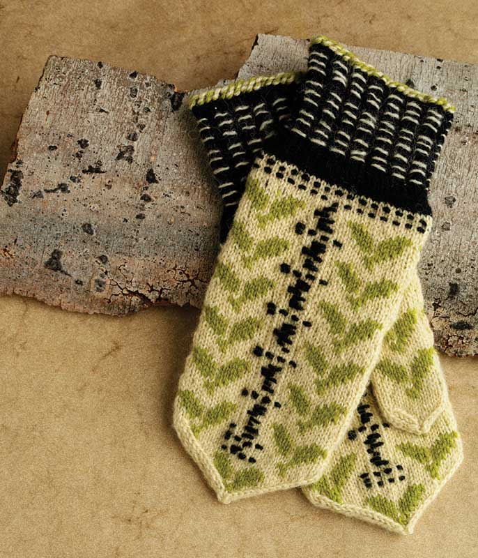 Barbara Plakans's version of Jette Užāne's knitted Birch mittens. The pattern precedes the article in the January/February 2010 issue of PieceWork. Photo by Joe Coca.