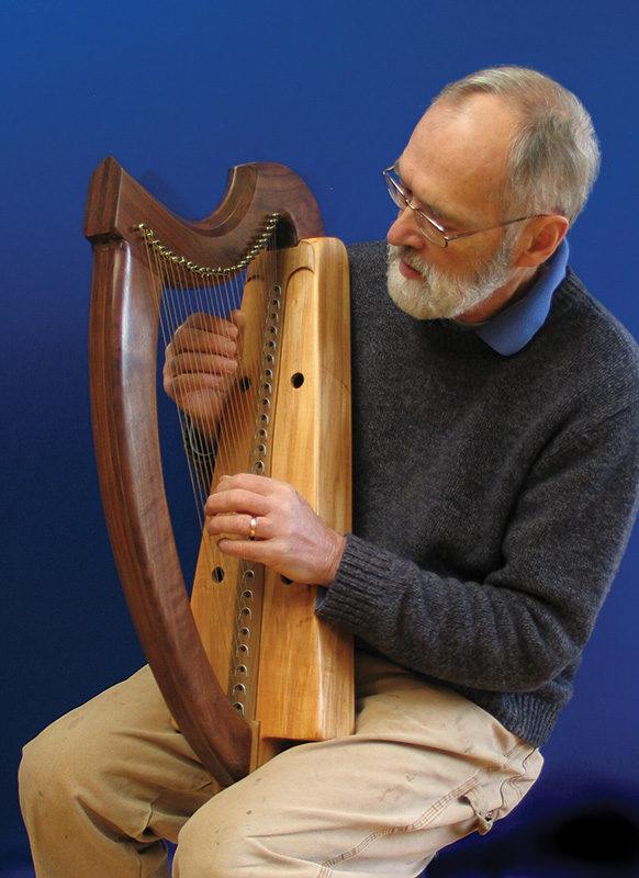David Kortier with one of his hand-built harps.