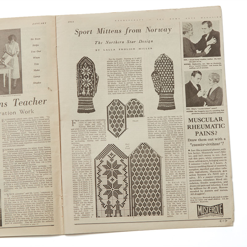 Interior page from the January 1933 issue of Needlecraft: The Home Arts Magazine with the pattern and charts for making Sport Mittens from Norway. Collection of PieceWork. Photograph by George Boe.