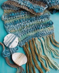 Elizabeth Prose's handspun Tenney Park Scarf from Spin-Off Summer 2012 was inspired by Weldon's Cloud Scarf from Weldon's Practical Needlework, Volume 5. Photo by Joe Coca.