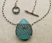 Delia Stone's knitted-wire gem cage necklace