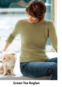The Green Tea Raglan is perfect for practicing your Continental knitting skills