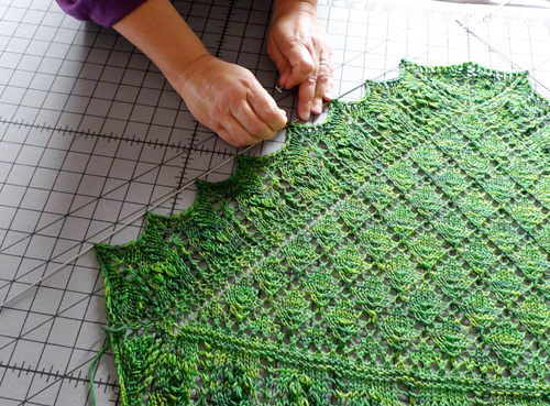 Using Blocking Wires To Block A Lace Shawl Interweave