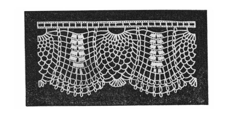 Leaf and Pine Edging from Ladies' Needlework; Crochet; Tales and Poetry: A Melange of Instructions and Amusements. This is one of the 22 patterns for crochet found in this PieceWork eBook.