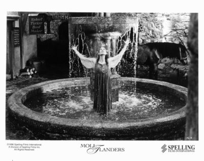 Actress Robin Wright stands in a fountain in a scene from the 1996 film Moll Flanders. Photo by Metro-Goldwyn-Mayer/Getty Images.
