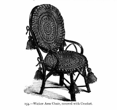 covered crochet Wicker chair