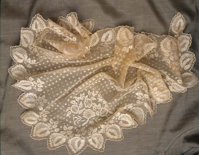 Embroidery-on-net veil. Circa 1830–1840. 36 x 28 inches (91.4 x 71.2 cm). Collection of Kax Wilson. Photograph by Joe Coca.
