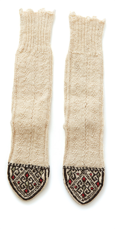 Traditional knitted Kurdish socks from the collection of Barb Sobkoviak.