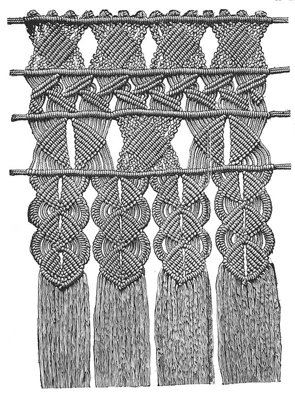 The Willow pattern in macramé from Weldon's Practical Needlework, Vol. 2.