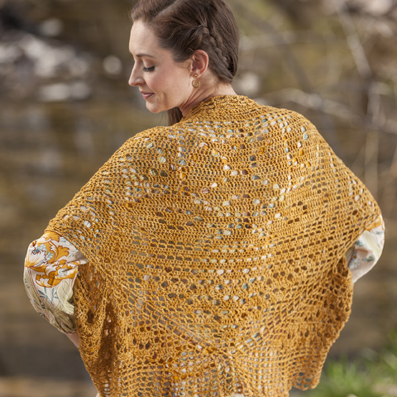The Filet Cocoon Sweater's lovely drape is courtesy of Kristin Omdahl Yarns Be So Sporty 100% bamboo yarn.
