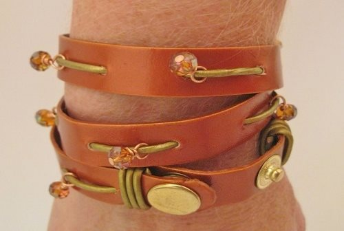 mixed metal metallic copper and metallic gold leather wrap bracelet with bead charms