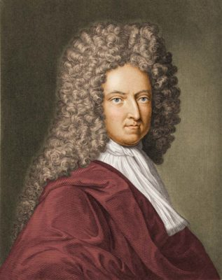 Engraving depicts a portrait of English novelist and journalist Daniel Defoe (1660–1731). Late 17th or early 18th century. Photo by Stock Montage/Getty Images.