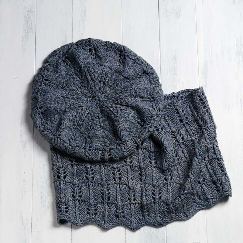 """Julie Turjoman's eco-friendly """"Peace Silk Beret and Cowl to Knit"""" adds style to any outfit. Photos by Joe Coca."""