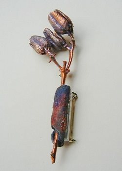 electroformed seed pod brooch