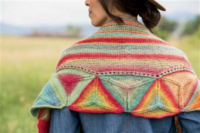 Beautiful yarn colors in the Ojo De Dios shawl