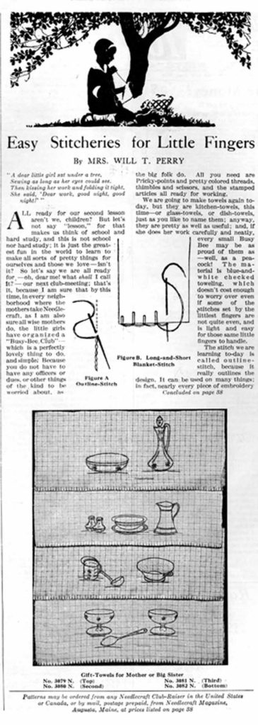 "First page of the ""Easy Stitcheries for Little Fingers"" column in the October 1926 issue of Needlecraft Magazine. The column contains the second of a series of lessons for young stitchers. Readers could purchase the patterns as hot-iron transfers for ten cents or stamped on toweling for thirty cents from Needlecraft. Collection of PieceWork."