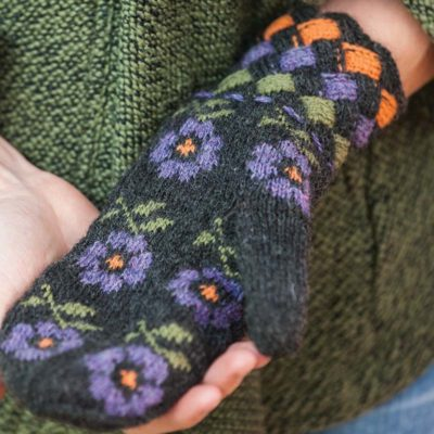 purple flower mittens