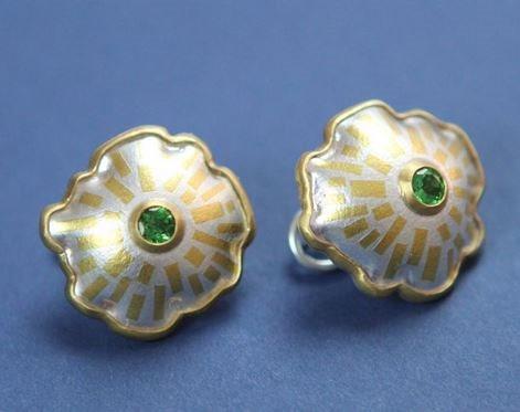 keum-boo and gemstone earrings by Joe Korth