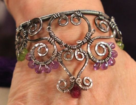 make this wire and gemstone crown cuff bracelet by Janice Berkebile