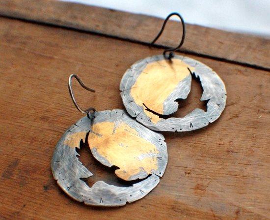 Keum boo jewelry designs: Soar keum boo earrings by rag and stone