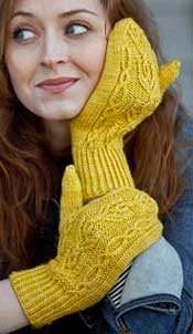 An example of the twisted stitch in knitted mittens!