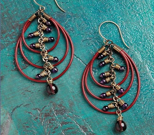 leather cord hoop earrings with wired bead charms
