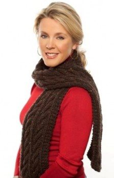 Knit chunky cables scarf free pattern from Premier Yarns.