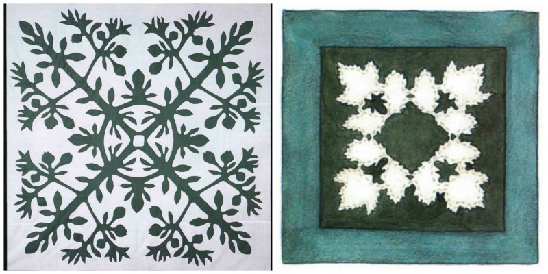 Left: Green-and-white Kufcui (a Hawaiian fruit) quilt top made by Kaniu Hapai Ryan as a young girl. From the collection of Debra Ballard. Photograph by Joe Coca. Right: A leafy table centerpiece offers you an opportunity to try Hawaiian-style appliqué quilting, adapting the design to reflect the leaf shapes of plants near your home. Illustration by Susan Strawn.