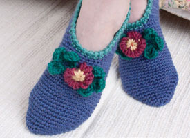 Make these crocheted slippers in our exclusive eBook on crochet for charity.