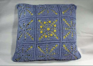 The Blue Skies and Sunshine Pillow is a crochet pillow pattern found in our free Crochet Home Decor Patterns eBook.