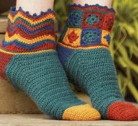 The Beaux Jestes Socks crochet pattern can be found in the free How to Crochet Slippers and Socks eBook from Interweave. Click here to find the eBook.