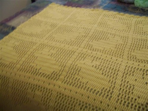 Baby Afghan Done In Filet Crochet Interweave