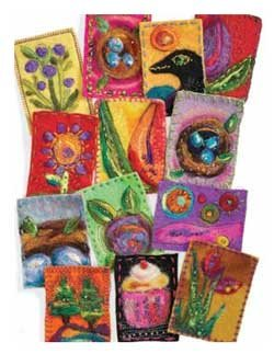 Felted trading cards