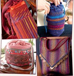 Four of Sara Lamb's five silk bags.