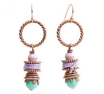 easy earrings with beads, wire, cord, and bead caps by Lorelei Eurto