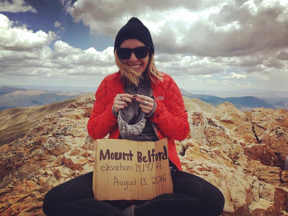 knitscene design knitting on top of a colorado 14er