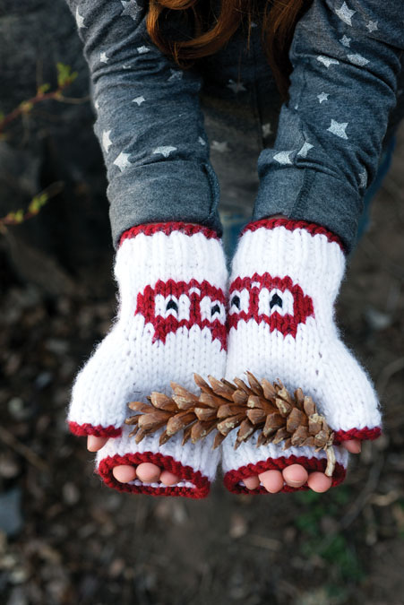 Hoot Sweet Hat & Mitts Knitting Pattern