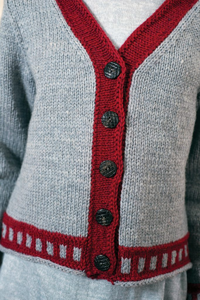 Color Boxes Cardigan designed by Kennita Tully from Love of Knitting Winter 2016