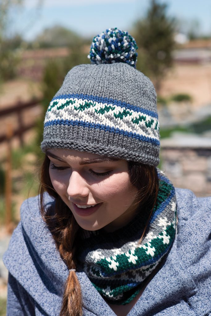 Nordic Winter Hat & Cowl Set knitting pattern designed by Melissa Metzbower from Love of Knitting Winter 2016.