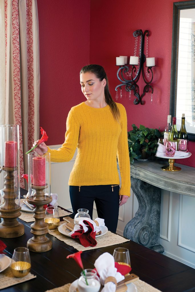 Vertical Stripes Pullover knitting pattern designed by Kristen TenDyke from Love of Knitting Winter 2016
