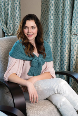 Complete with a Bow Wrap knitting pattern designed by Faye Kennington