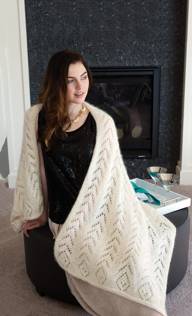 Shades of White Shawl designed by Melissa Leapman from Love of Knitting Winter 2016