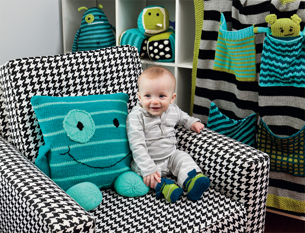 But Beyond The Sweet Monster Faces Rebecca S New Book Knit A Nursery Offers Practical Projects That Knitters Can Make And Babies Use