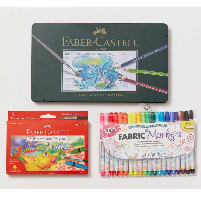 colored pencils, makers and crayons