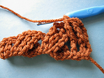 Edgeless Crochet Cables: First cross of the second row.