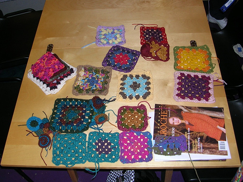 Granny squares made during class
