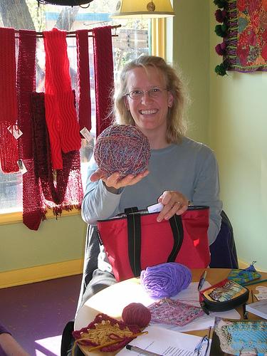 Lise & her giant yarn ball
